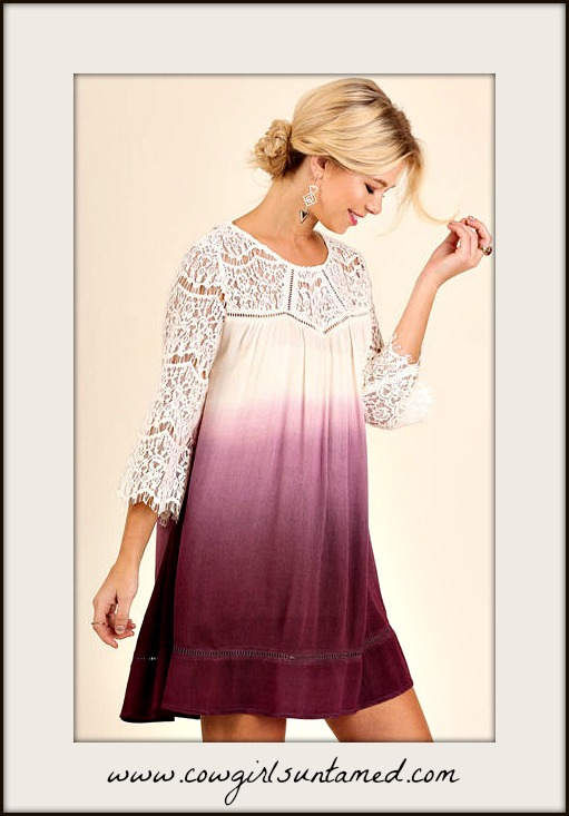 BOHEMIAN COWGIRL DRESS White Lace Purple Ombre 3/4 Bell Sleeve Mini Dress