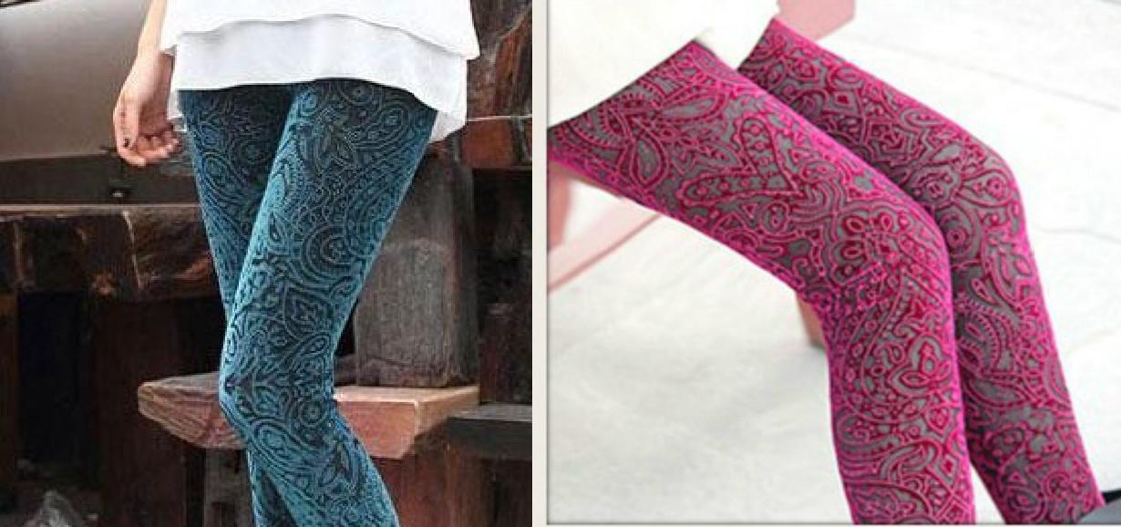 COWGIRL GYPSY PANTS Velvet Mesh Boho Leggings  ONE SIZE 2 COLORS LEFT