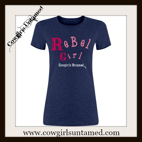 "RODEO REBEL TEE Pink ""REBEL GIRL"" on Blue T-Shirt"