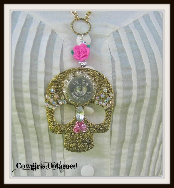 REBEL SOUL NECKLACE 12 Gauge Rhinestone Trim Bullet Pink Flowers on Antique Bronze Floral Embossed Skull Necklace