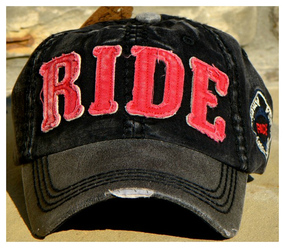 "COWGIRL STYLE CAP Red ""RIDE"" Distressed Fabric on Black & Red Western Cap"