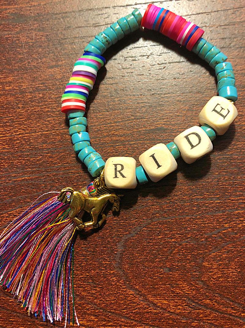 """RIDE BRACELET Handmade Horse & Tassel Charm """"RIDE"""" Heishi Turquoise Beaded Stretch Bracelet"""