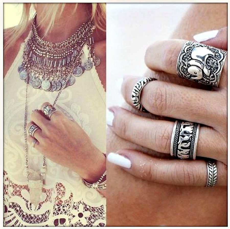 BOHO CHIC RING SET Antique Silver Boho Elephant Ring Set of 4