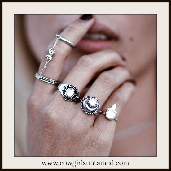 BOHO CHIC RING SET Antique Silver & Opal Boho Ring Set of 4