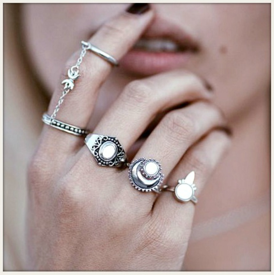 BOHO CHIC RING SET Antique Silver & Opal Boho Ring Set of 4