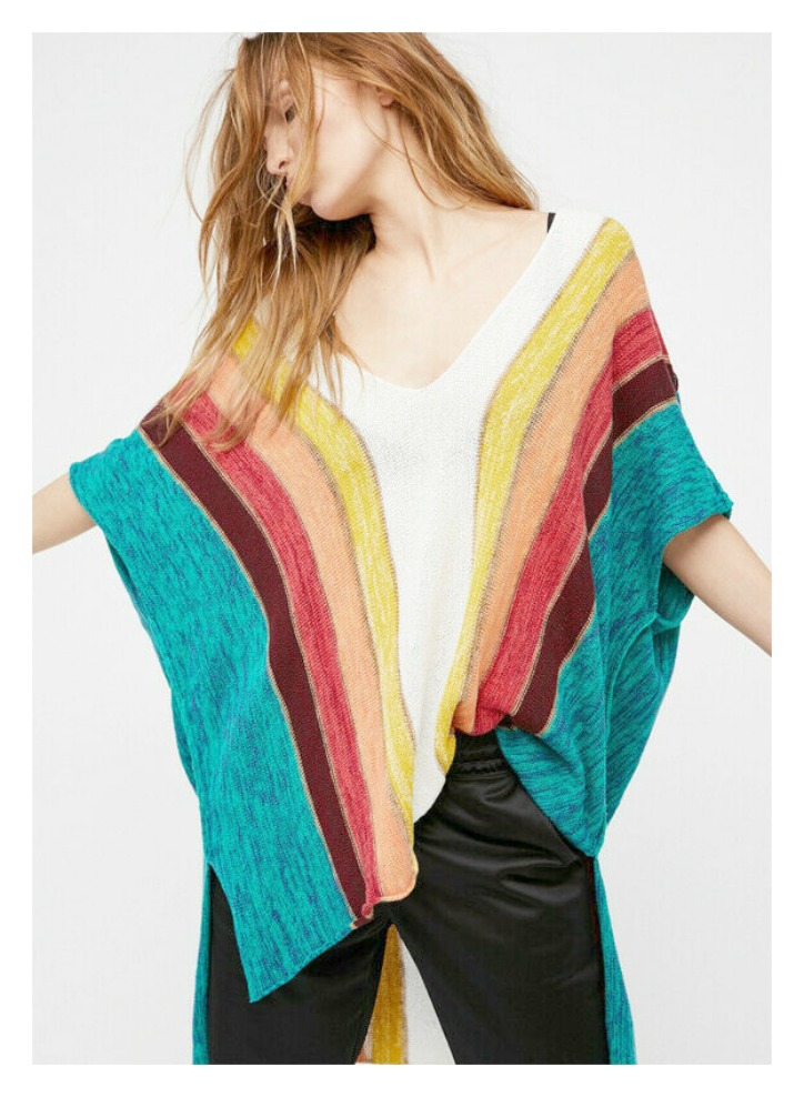 FOLLOW the RAINBOW TOP Multi Color Stripe Kimono Short Sleeve High Low Festival Top LAST ONE!