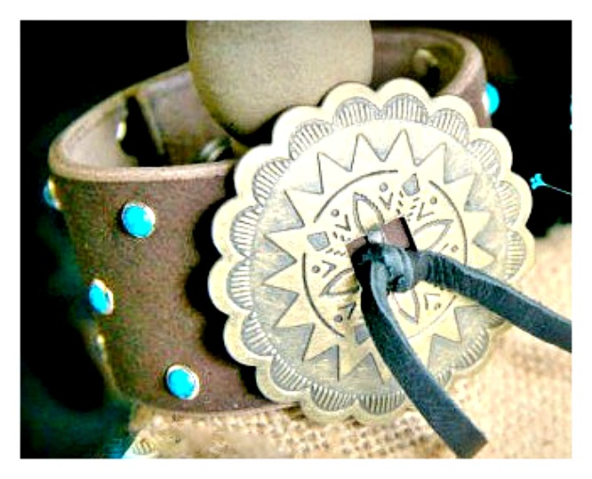 BOHEMIAN COWGIRL CUFF Turquoise Studded Brass Concho Leather Bracelet