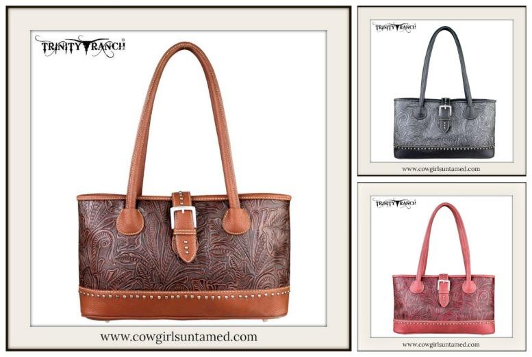 COWGIRL STYLE HANDBAG Floral Tooled Leather Silver Studded Handbag