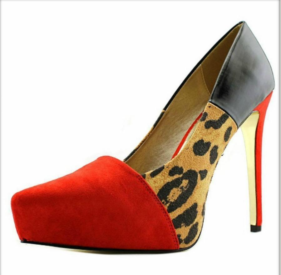 ON THE PROWL HEELS Red Leopard and Black Leather Designer Platform Heels
