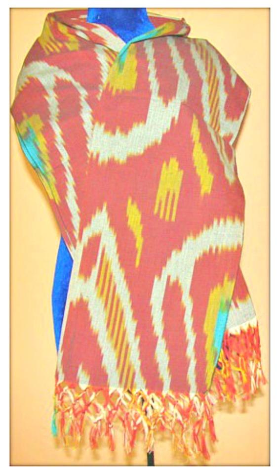 BOHO SCARF Multi Color Grey Turquoise Red Yellow Fringe Ikat Scarf
