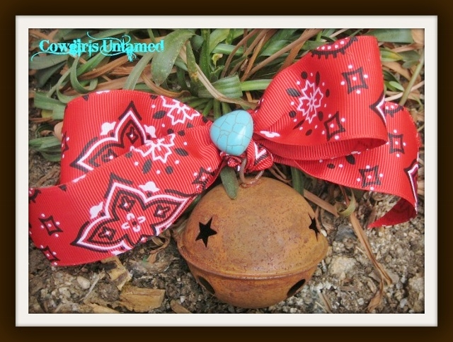 FARMHOUSE CHIC DECOR  Red Bandanna Bow Turquoise Heart on Rustic Star Cutout Metal Bell Western Ornament