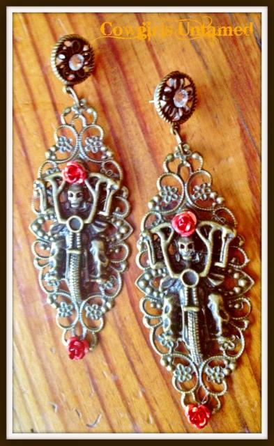 BIKER GAL EARRINGS Red Turquoise Skull and Metal Flower on Antique Bronze Motorcycle Crystal Earrings