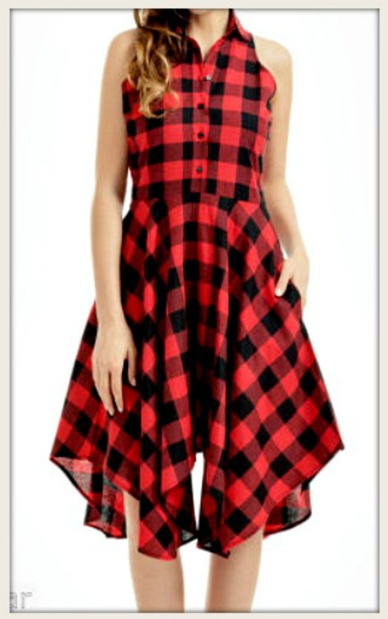 THE RILEY DRESS Red & Black Checked Button Front Full Skirt Dress