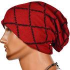 BEANIE CAP  Unisex Chunky Warm Knit Designer Red Black Beanie Cap