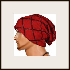 BEANIE CAP  Unisex Red Black Pattern Warm Knit Designer Winter Beanie Cap
