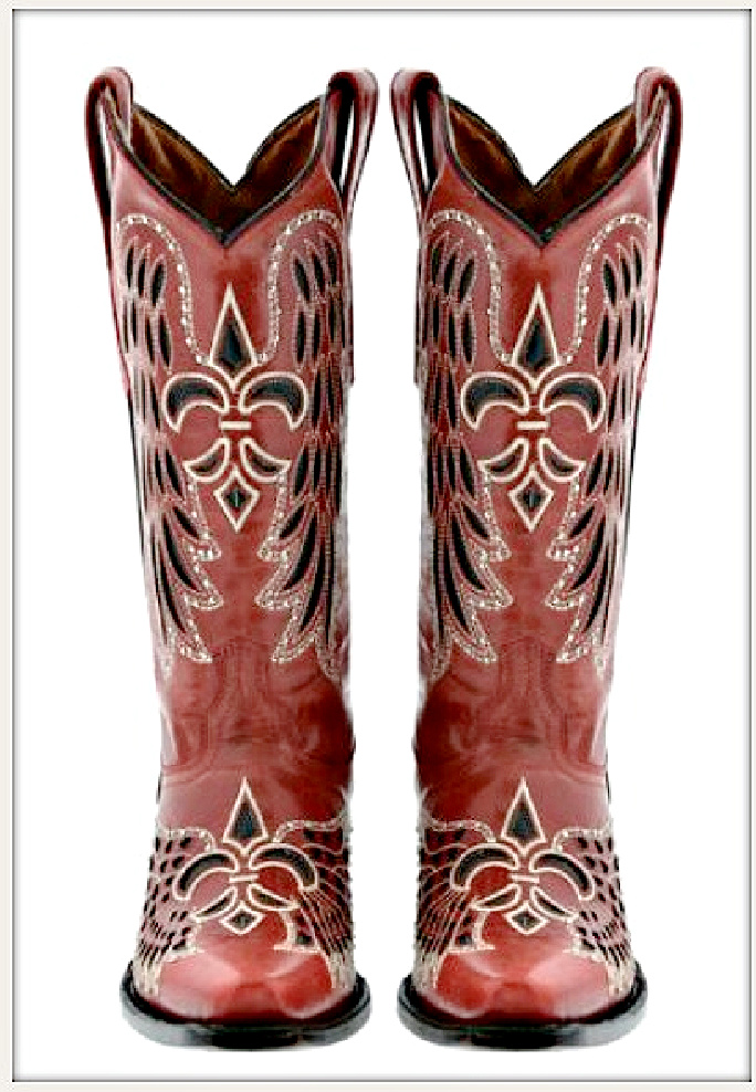 RODEO REBEL BOOTS Red and Black Embroidered Fleur De Lis Rhinestone Studded Cowgirl Boots Sizes 6,7,8