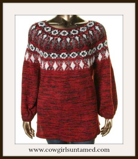 COWGIRL STYLE SWEATER Red Black Grey Vintage Style Designer Sweater