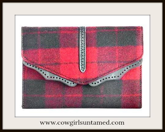 DESIGNER HANDBAG Red & Black Plaid Designer Messenger Bag /Clutch