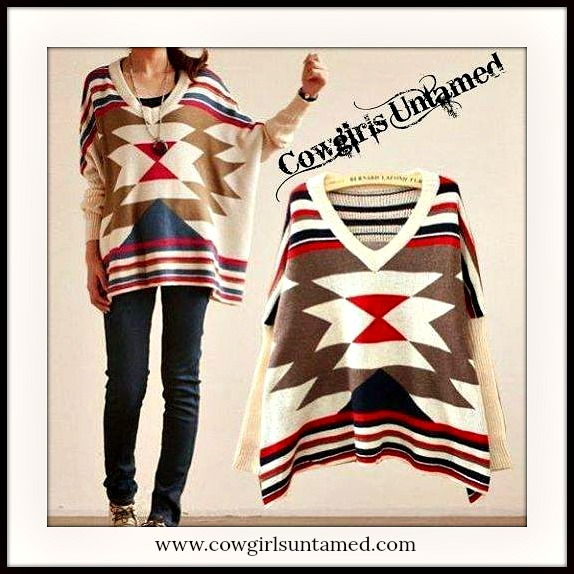 COWGIRL GYPSY SWEATER Red Blue N Beige Oversized Aztec Boho Western Sweater