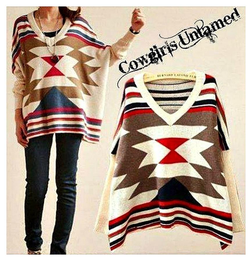 COWGIRL GYPSY SWEATER Red Blue N Beige Oversized Aztec Boho Western Sweater