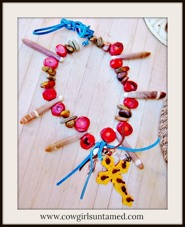 BOHO CHIC NECKLACE Orange Turquoise Cross Tassel Shell Red Coral Brown Sea Urchin Spikes Jasper Necklace