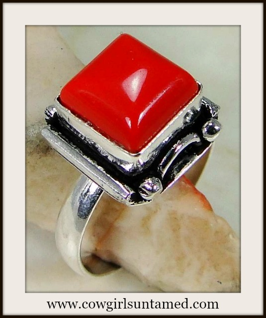 WESTERN COWGIRL RING Square 925 Sterling Silver Red Coral Gemstone Ring