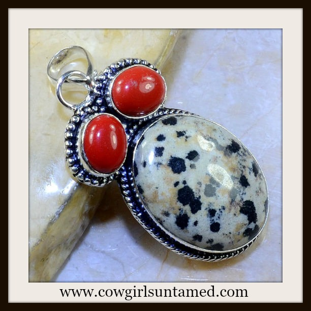 COWGIRL GLAM NECKLACE Coral and Jasper Gemstone Pendent on 925 SS Chain Necklace