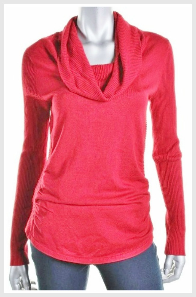 HOOKED UP SWEATER Red Cowl Neck Ruched Side Designer Sweater LAST ONE SM/M