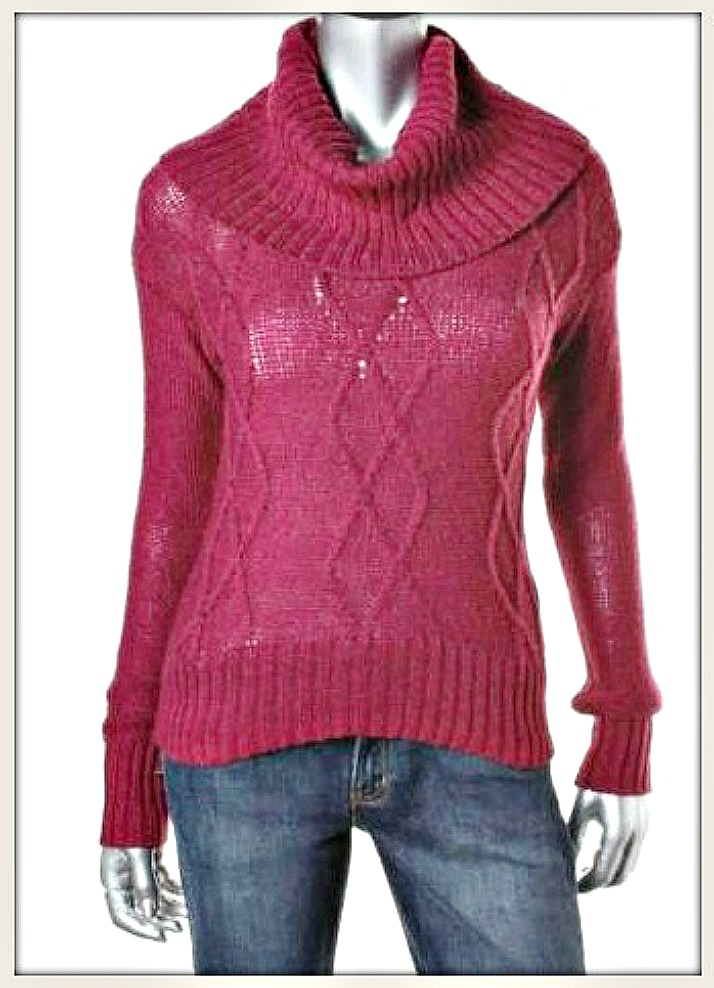 OH MG SWEATER Burgundy Red Cable Knit Cowl Neck Designer Sweater LAST ONE LARGE