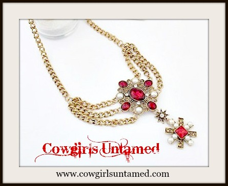 COWGIRL GYPSY NECKLACE Red Crystal Rhinestones and White Pearl on Antique Gold Chain Boho Statement Necklace