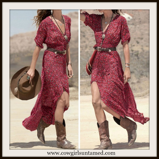 WESTERN COWGIRL DRESS Red Floral V Neck and Front Slit Maxi Dress