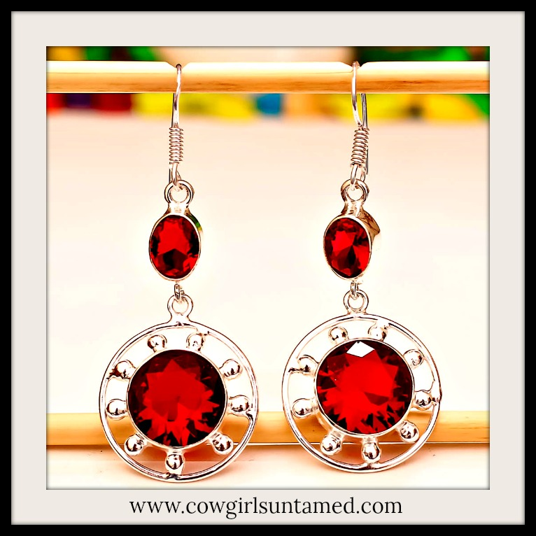 COWGIRL STYLE EARRINGS Red Garnet Gemstone Silver Dangle Earrings