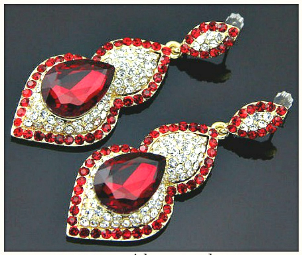 TOUCH OF GLAM EARRINGS Red Glass Rhinestone Gold Plated Earrings