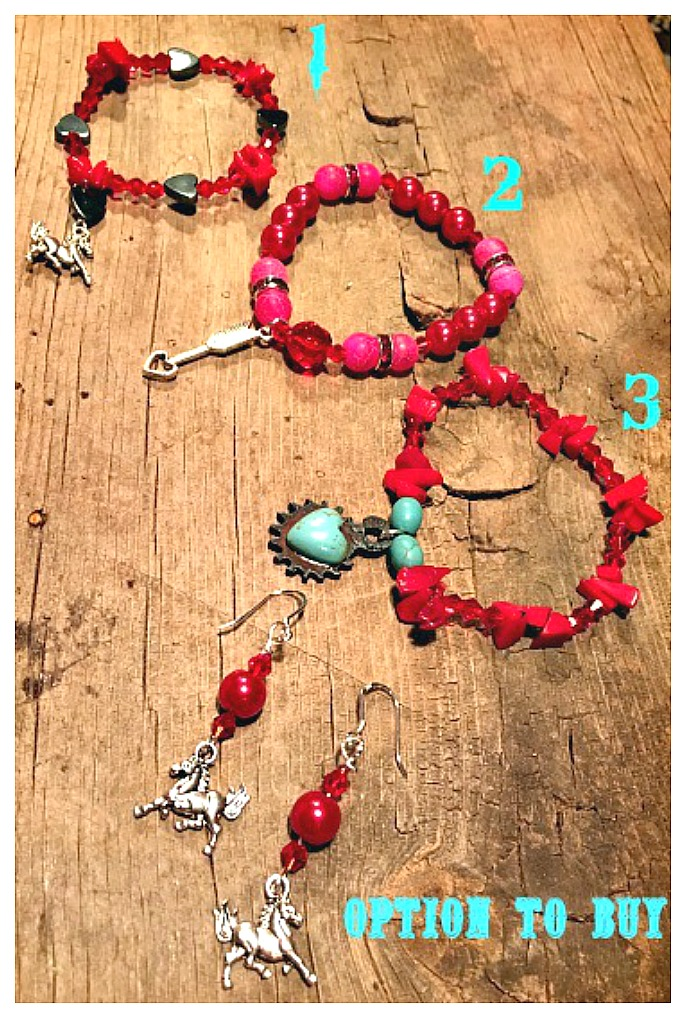 COWGIRL STYLE BRACELET SET Red & Silver Charm Stretch Bracelets  You Choose!Bracelets are stretch