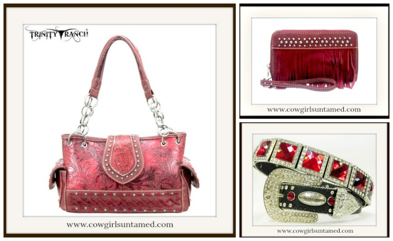 Red Tooled Silver Studded Leather Handbag