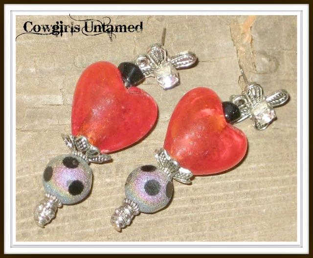 COWGIRL GLAM EARRINGS Glass Red Heart N Black Polka Dot Rhinestone Earrings