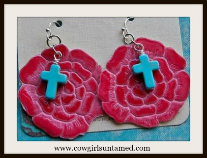 COWGIRL GYPSY EARRINGS Red Leather N Aqua Turquoise Cross Charm Earrings