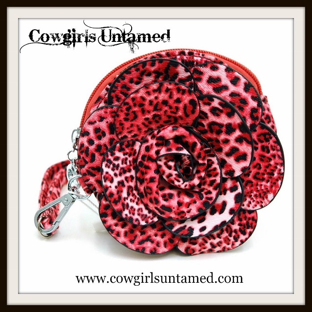 CLASSY COWGIRL WALLET Leopard 3D Flower Wallet Wristlet