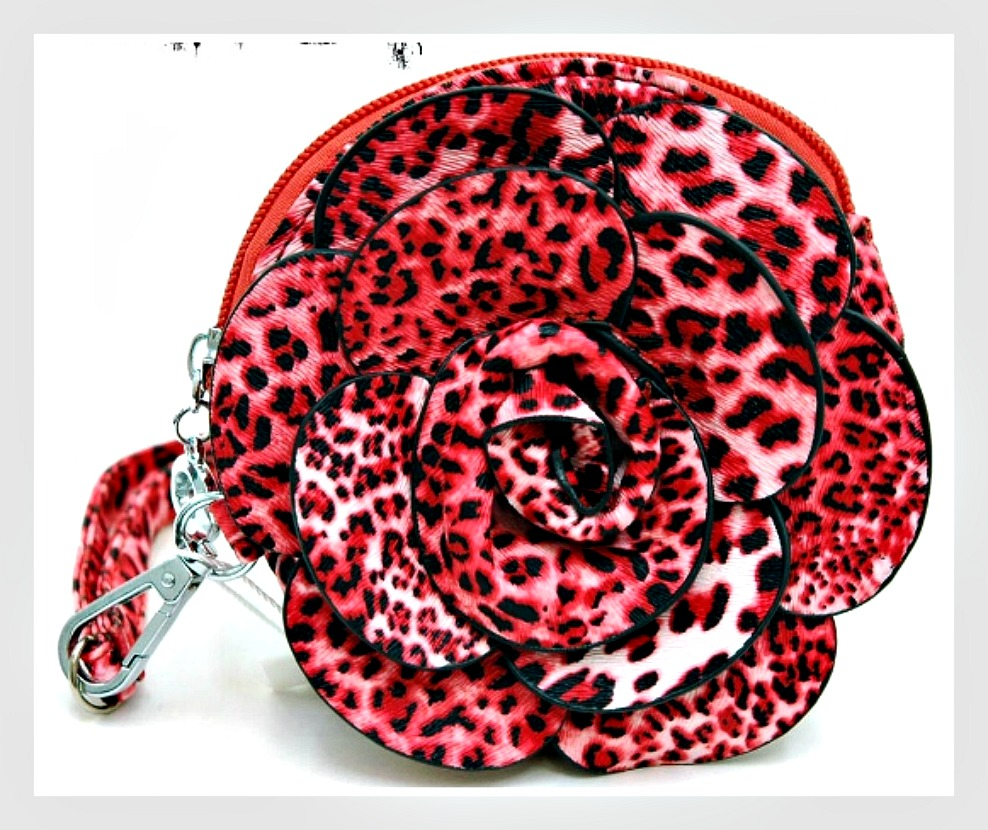 ON THE PROWL WALLET Leopard 3D Flower Wallet Wristlet