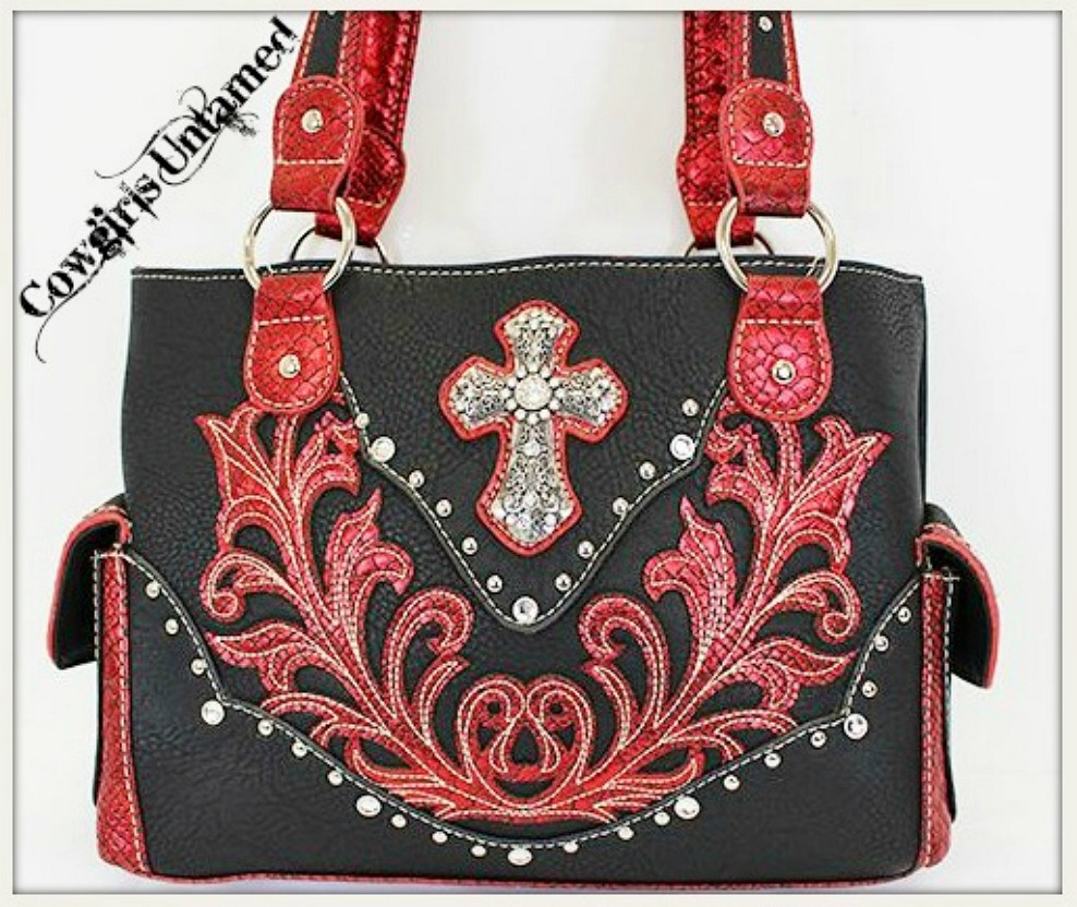 CHRISTIAN COWGIRL HANDBAG Silver Rhinestone Cross Studded Red and Black Leather Western Handbag