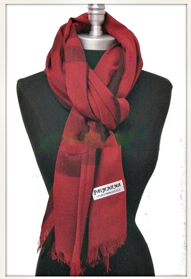 GOING GLAM SCARF Red & Burgundy & Black Fringe Pashmina Scarf Shawl