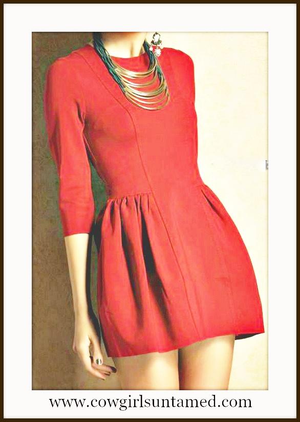 COWGIRL GLAM DRESS Red Pleated 3/4 Sleeve Zipper Back Dress
