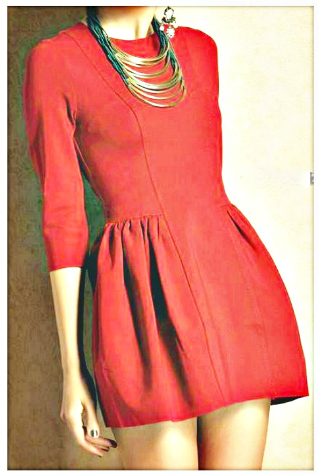 TOUCH OF GLAM DRESS Red Pleated 3/4 Sleeve Zipper Back Dress