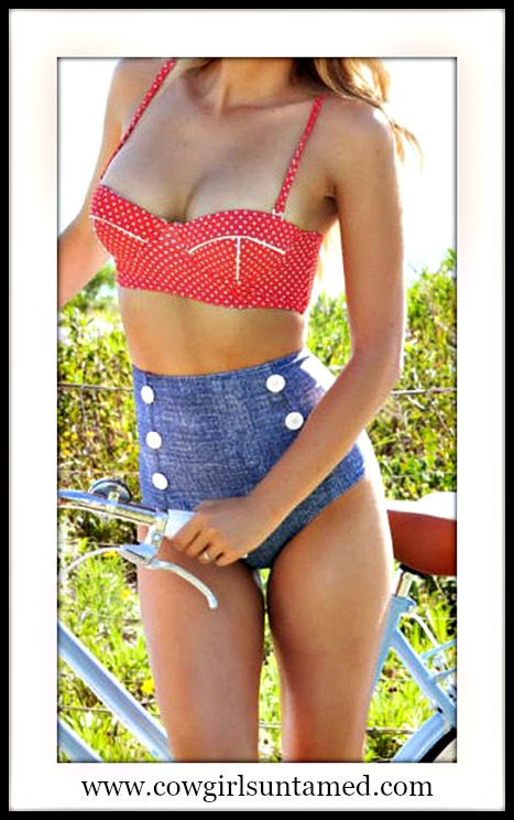 SOUTHERN BELLE SWIMSUIT Red Polka Dot Padded Push Up Top Jean High Waist Bottom Swimsuit