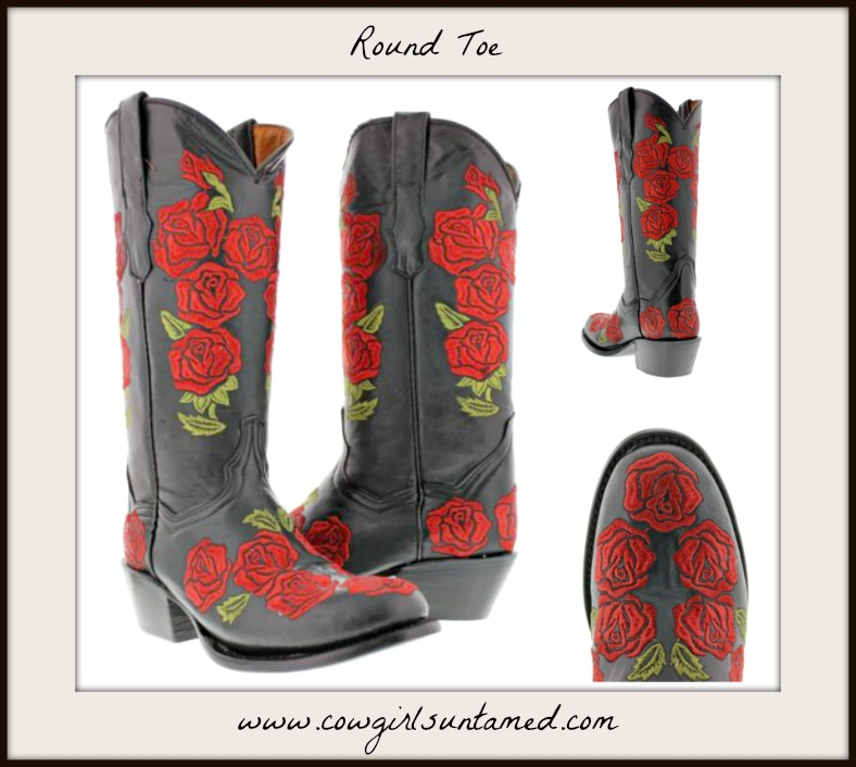Gypsy Style Boots Embroidered Red Roses On Black Genuine