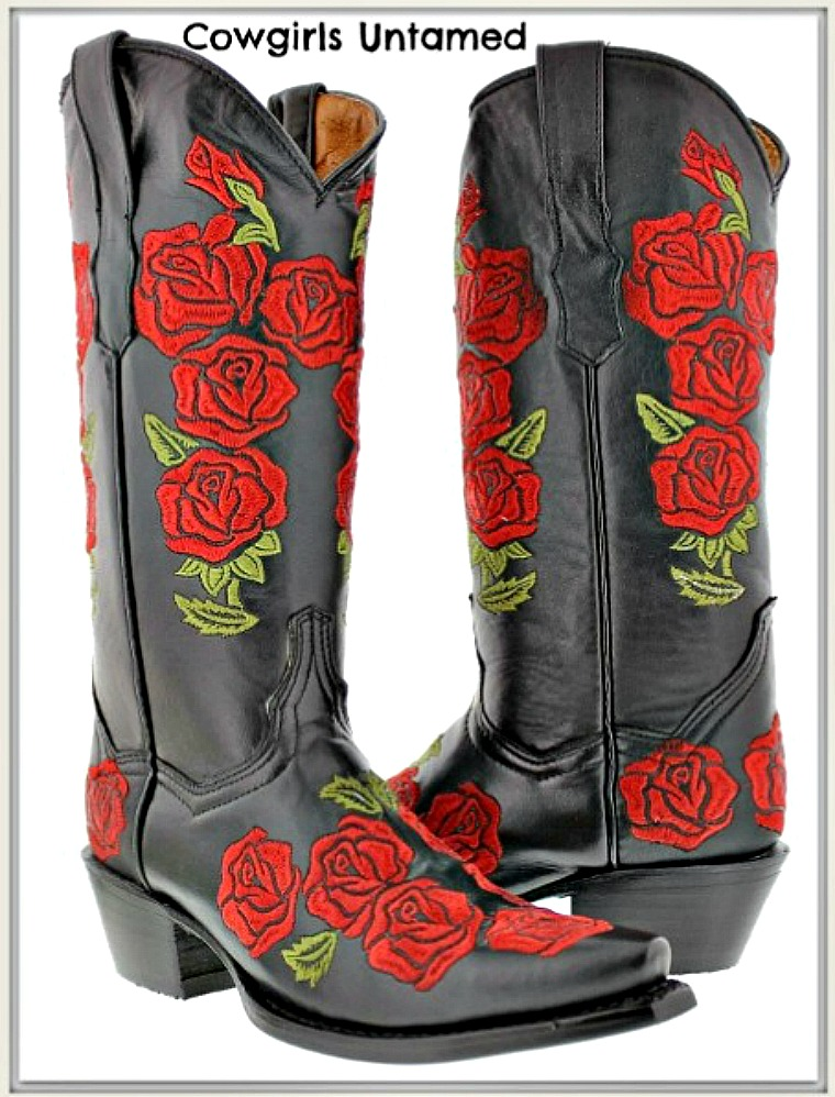 COWGIRL GYPSY BOOTS Embroidered Red Roses BLACK Genuine Leather Boots Snip Toe & Round Toe SIZES 5-11