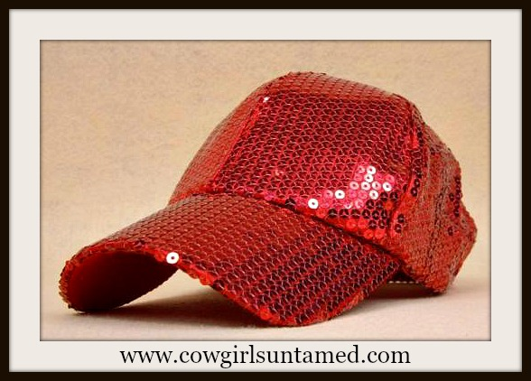 COWGIRL GLAM HAT Red Sequin Baseball Cap