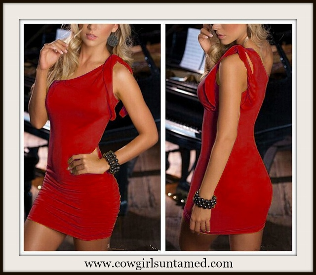 COWGIRL GLAM DRESS Red Single Shoulder Sexy Bodycon Mini Dress