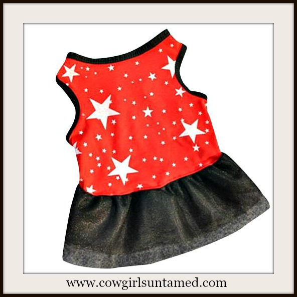 BLINGIN' BESTIES Red on White Star and Black Tutu Doggie Dress