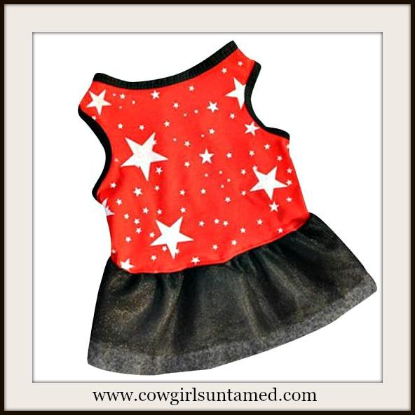 BLINGIN' BESTIES Red on White Star and Black Tutu Doggie Dress